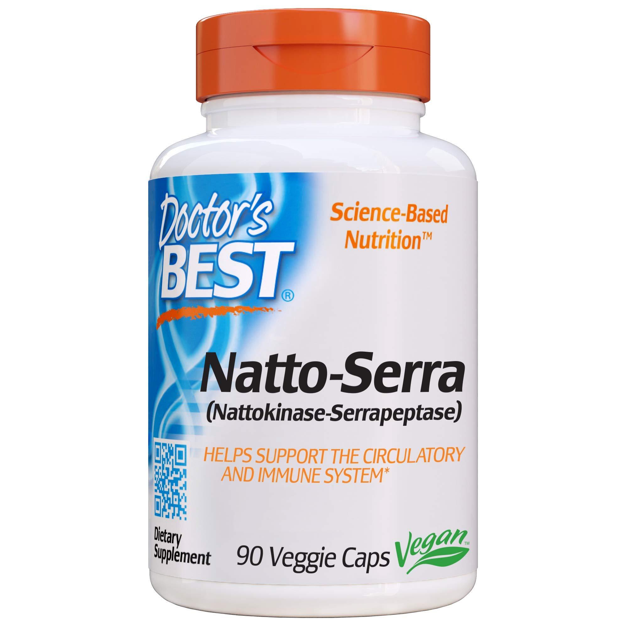 Doctor's Best Natto-Serra, Non-GMO, Vegan, Gluten Free, 90 Veggie Caps by Doctor's Best