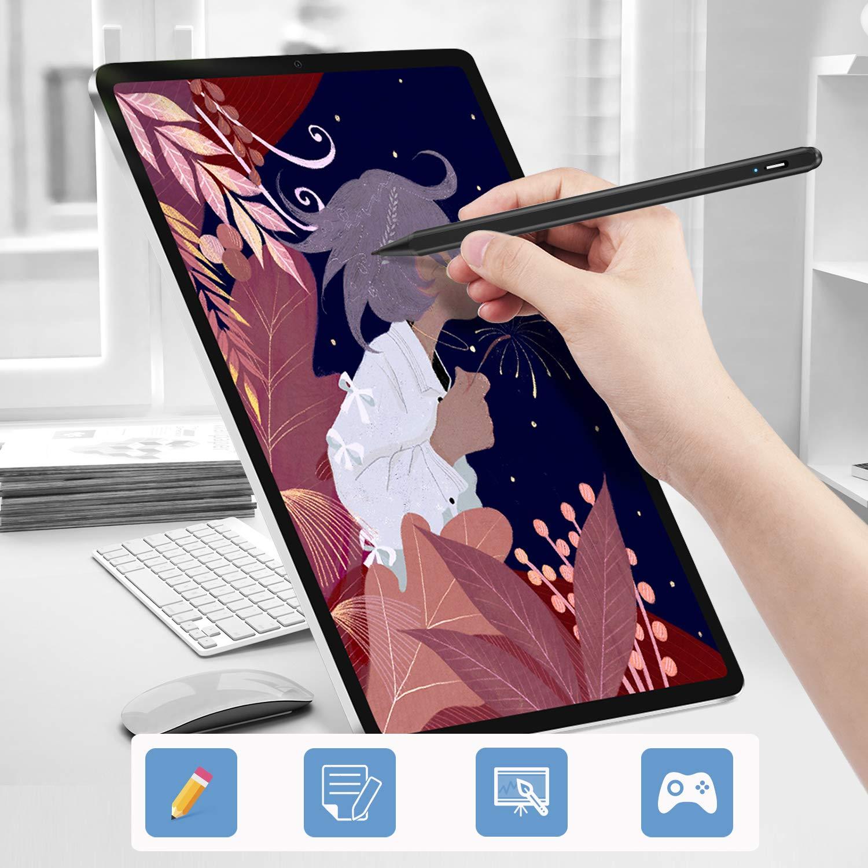 L/ápiz Recargable Compatible con Apple iPad 6./ª // Air 3./ª // Mini 5./ª //Pro 11// Pro 12.9 Stylus Activo con Puntas de Nano Fibra de 1.0 mm /&Rechazo de Palma L/ápiz T/áctil 2./ª generaci/ón para iPad 3./ª