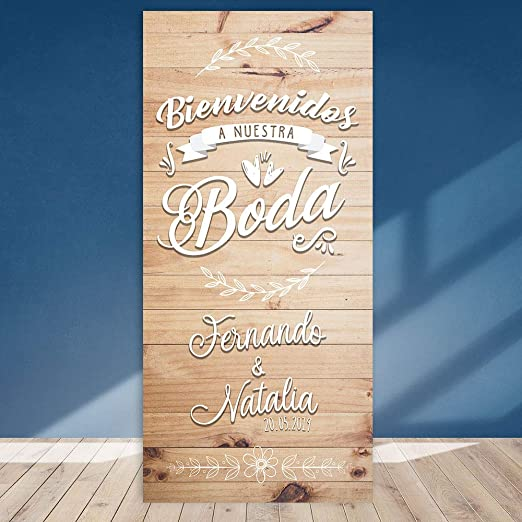 Decoración Boda | Cartel Boda Wood III | 70cm x 150cm ...