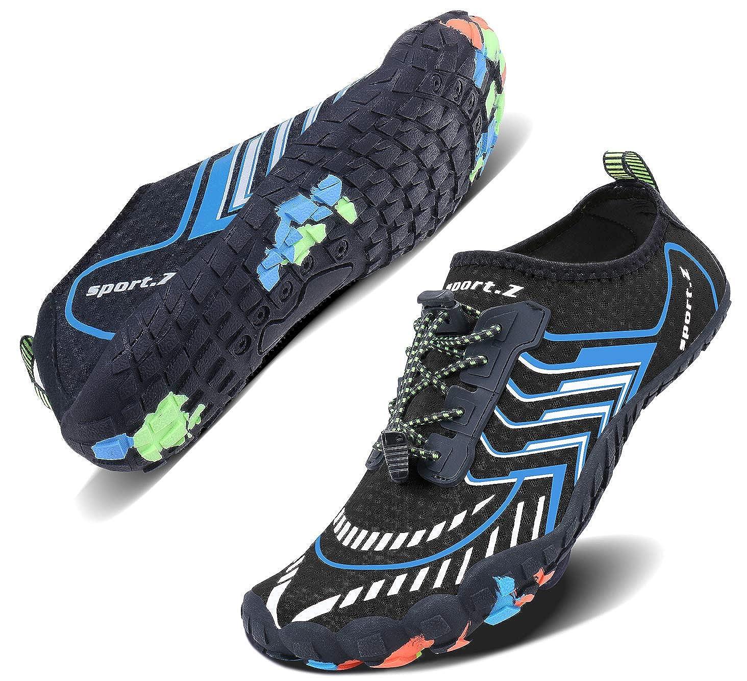 bluee_1 Wonesion Mens Womens Water Sport shoes Quick Dry Aqua Socks Barefoot Outdoor Beach Swim Surf Pool Yoga shoes