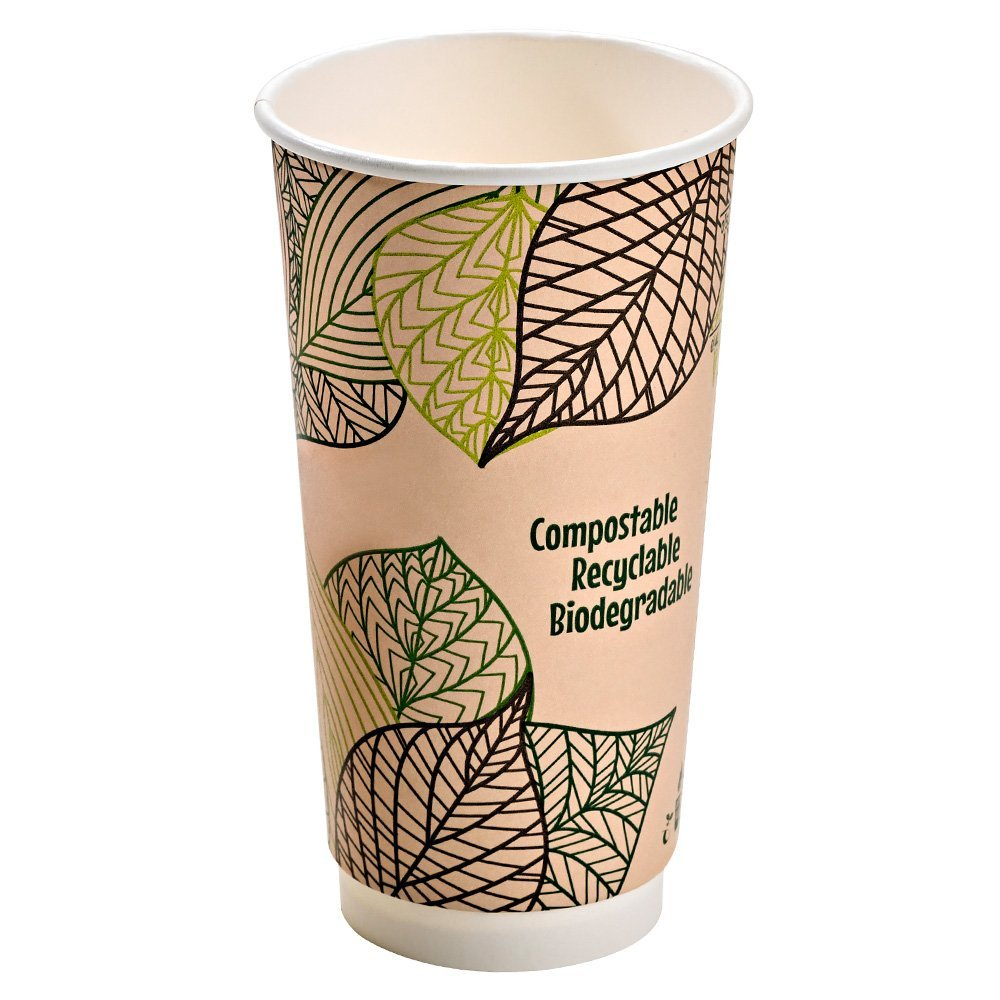 PacknWood Double Wall Compostable Paper Cup with PLA Liner, 20 oz. (Case of 500)