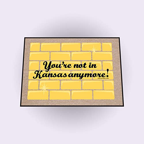 High Cotton Not in Kansas Anymore Doormat, Yellow with brick background