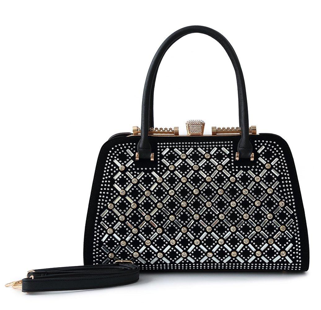Satispac Women's Wedding Party Style Rhinestone with Elegant Frame Handbag (Black)