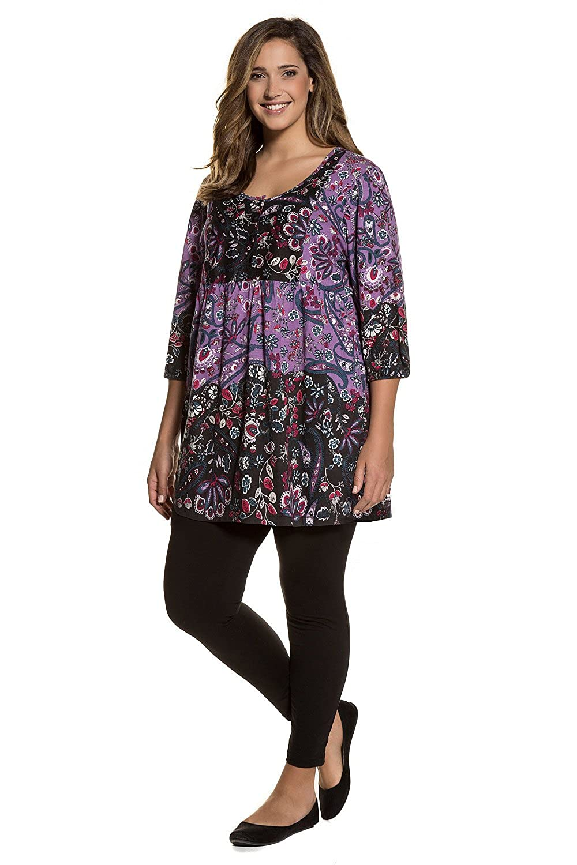 Ulla Popken Womens Plus Size Floral Print Empire LIne Tunic 711414