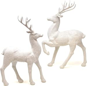 Gift Boutique 2 Holiday Reindeer Figures 12.5 Inches Silver Glitter Table Decorations for Dinner Party Coffee Merry Christmas Deer Decor Happy Holiday Centerpiece