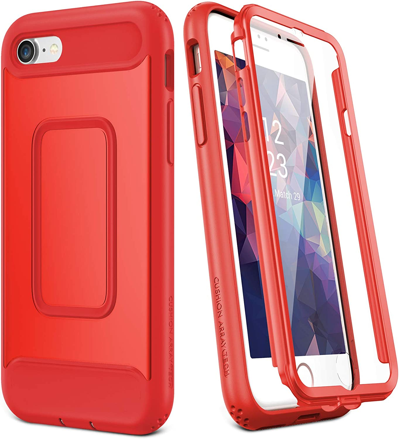 YOUMAKER Designed for iPhone SE 2020 Case/iPhone 8 Case/iPhone 7 Case (NOT PLUS),Full-body Rugged Case with Built-in Screen Protector for iPhone SE 2nd Generation/8/7 4.7 Inch - Red