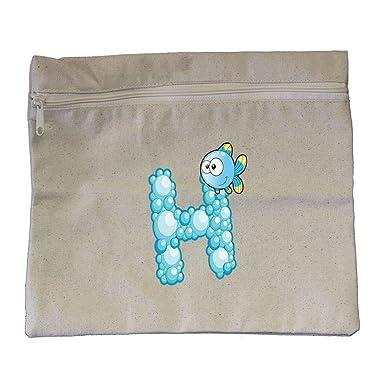 5b882b0f7ac Amazon.com: H Bubble Letter Letter Alphabet Cotton Canvas Zippered Pouch  12