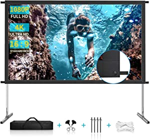 Projector Screen with Stand, 120 inch Premium 3 Layers PVC Movie Screen, 4K HD 16:9 Outdoor/Indoor Foldable Anti-Crease Front Projection Screen for Home Garden Theater Backyard