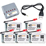 Keenstone 5Pcs Syma X5HC X5HW battery, 3.7V 600mAh 20C, with 5-Port Quick Charger, Overcharge Protection and Faster Charging Speed (Not Compatible with Contixo F5)