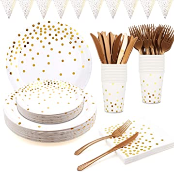 White and Gold Party Supplies Disposable Gold Party Plates Tableware Napkins Cups Cutlery Banner for Birthday Party Bridal Shower Engagement Christmas White Gold Dot Paper Plates 24 Guests