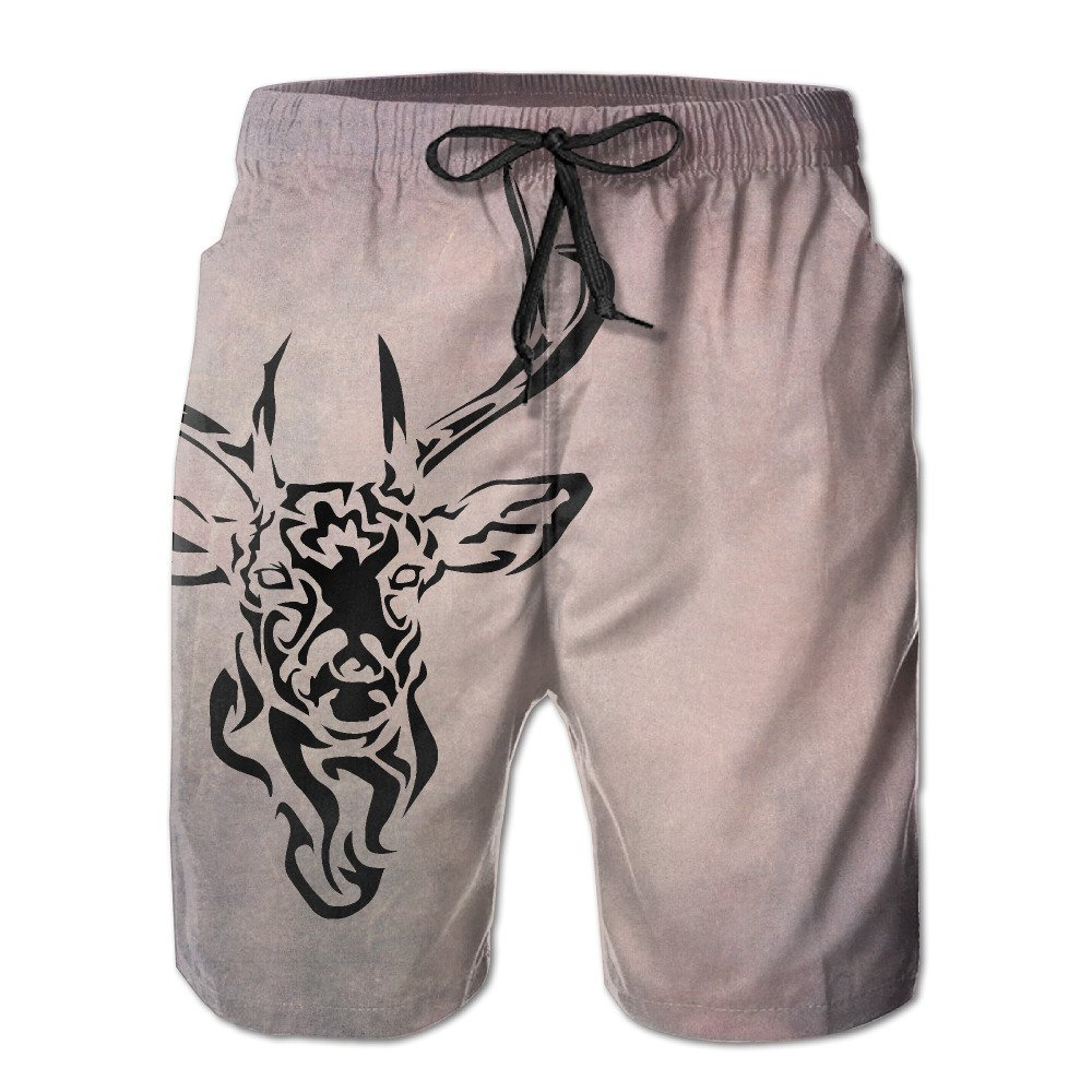 Hunting Deer Protrait Men's Workout&swim Trunks Quick Dry Board Shorts With Pockets And Drawstring