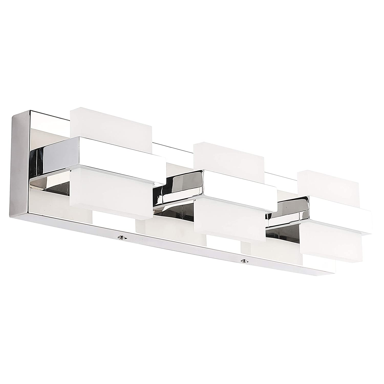 SOLFART LED Modern Bathroom Vanity Lights Over Mirror 3 Lights Acrylic Stainless Steel Bath Wall Lighting