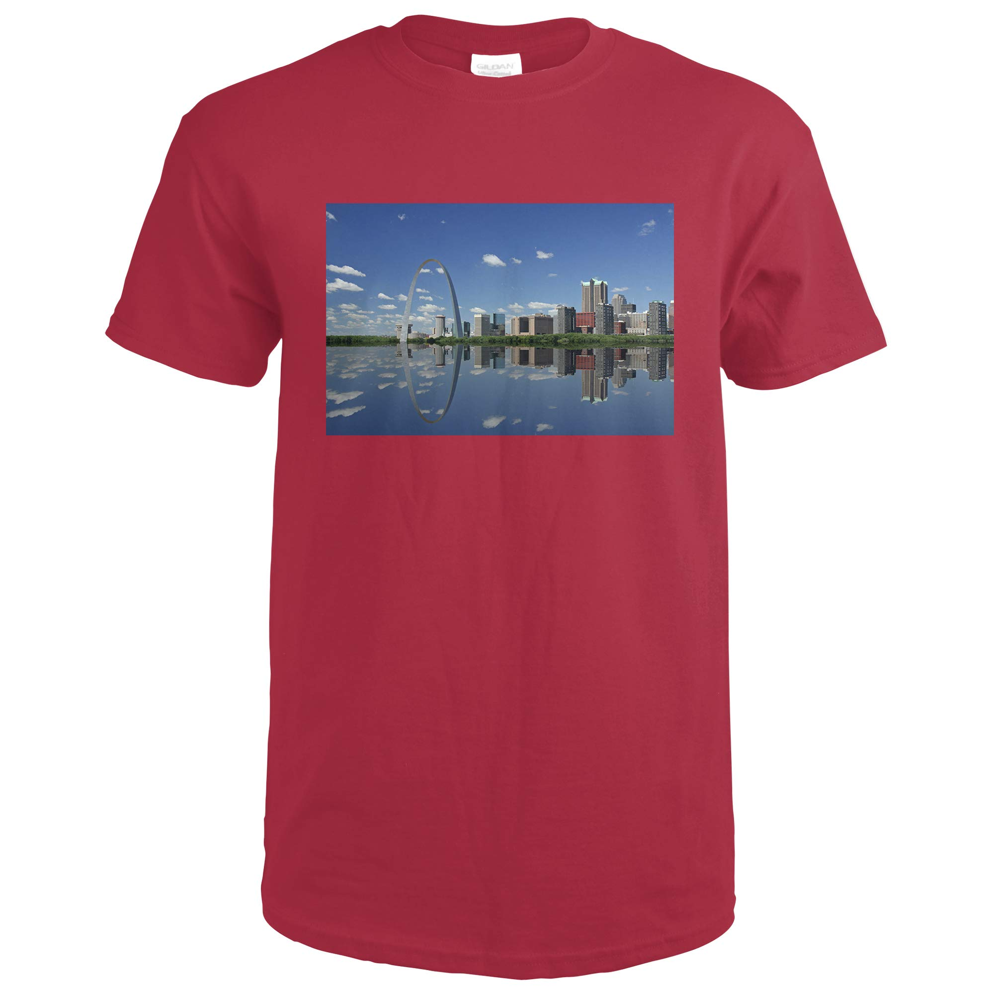St Louis,  Missouri Gateway Arch And Reflection Photography A 93063 93063 Cardinal Red Xx Large Shirts