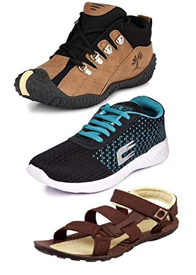 63bdb272f1a Tempo Men's Combo Pack of 3 Footwear (Outdoor Shoes, Loafers & Floaters  Sandals)