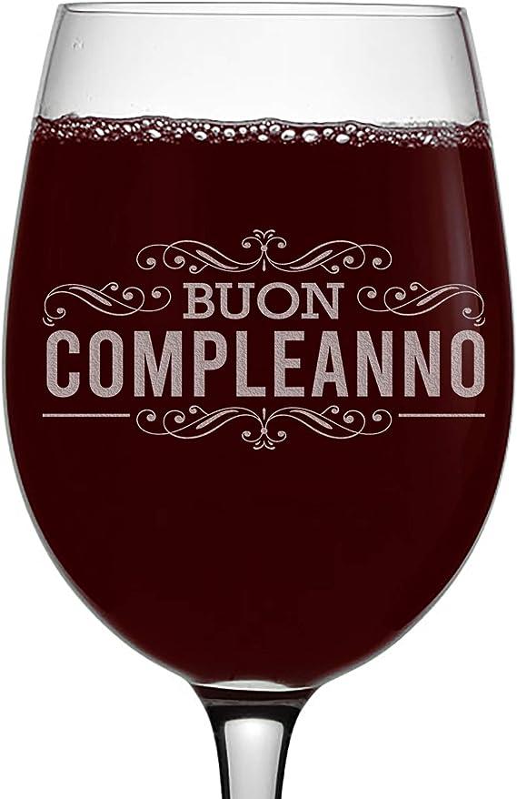 Happy Birthday (Italian) Etched 16oz Stemmed Wine Glass