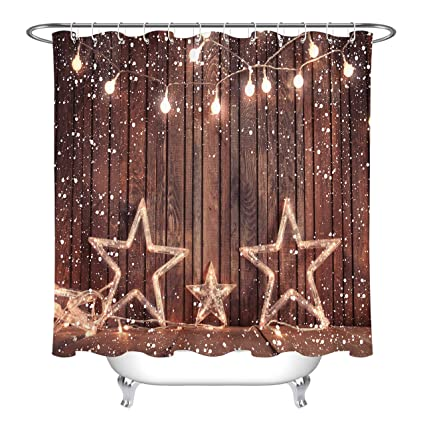 LB Christmas Lights Star Decor Rustic Country Barn Wood Curtains For Shower Stall Vintage