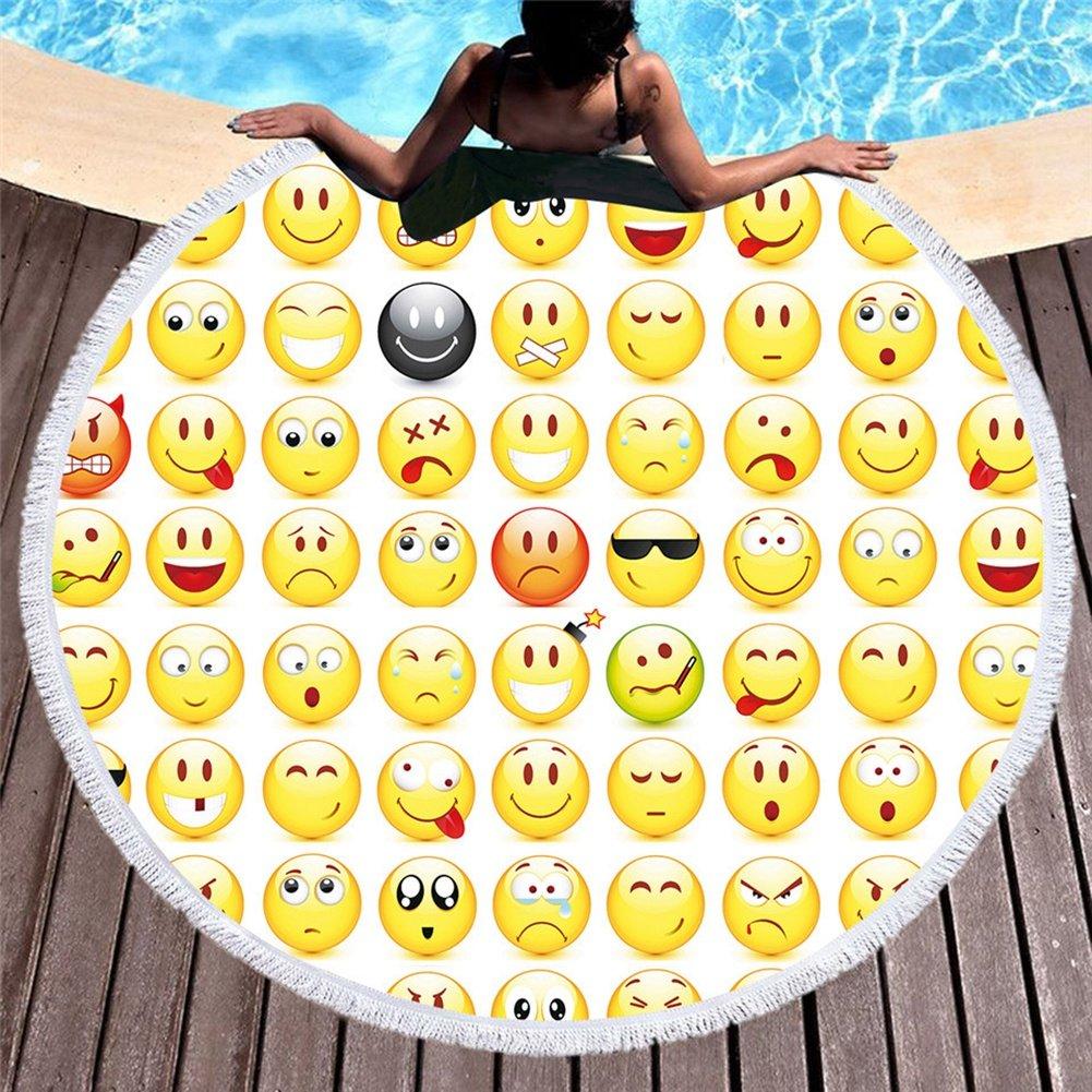 HOMEYJ Lindo Emoji Ronda Toalla de Playa Grande de ...