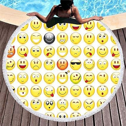 HOMEYJ Lindo Emoji Ronda Toalla de Playa Grande de Microfibra para Adultos con Borla 150 cm