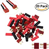 UEETEK 10 Pairs Ultra T-Plug Connectors Deans Style Male and Female with 20pcs Shrink Tubing