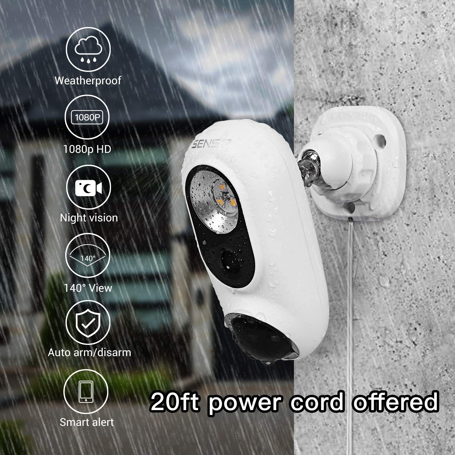 SENS8 Outdoor Camera with Light, 1080p HD, Wi-Fi Home Security Camera, No Subscription, Customized Motion Zone, Motion Detection, Night Vision, Two-Way Audio and Siren Alarm by SENS8 (Image #4)