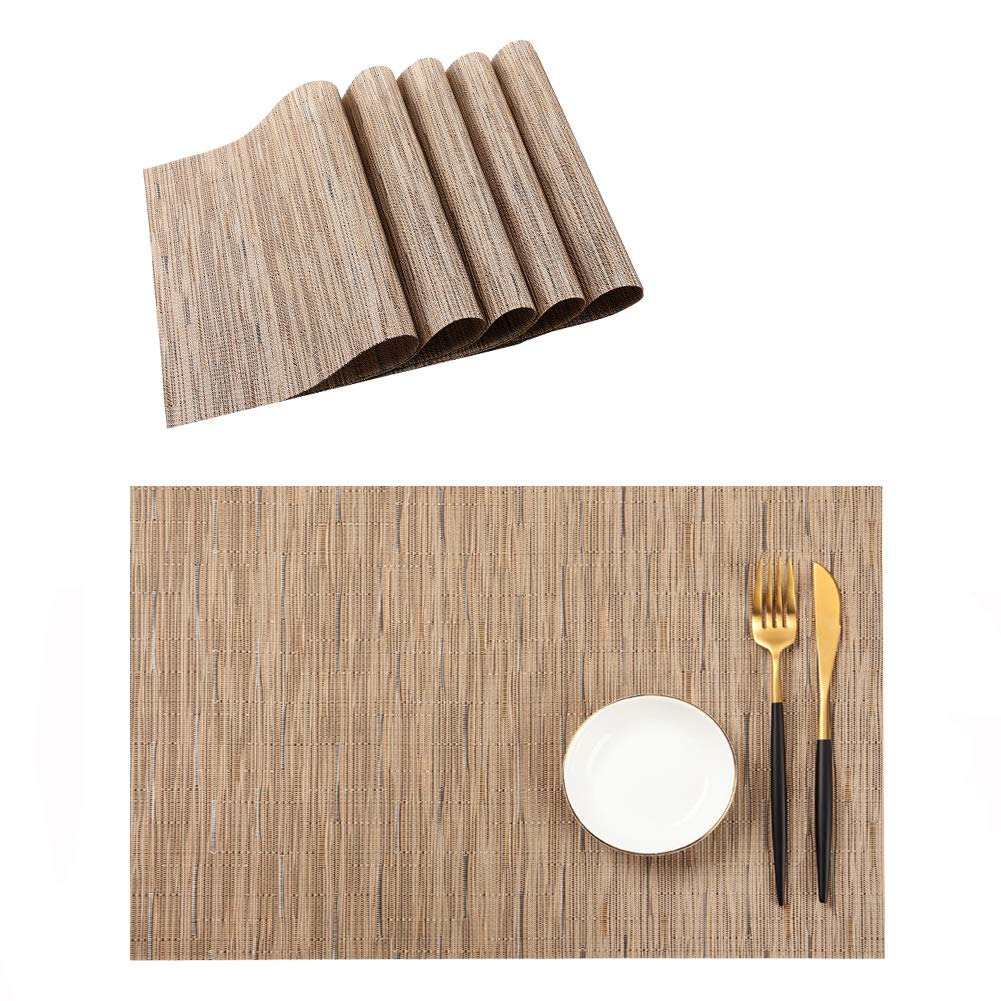 Table Mats Set of 6 Washable, Easy to Clean Non-Slip Woven Vinyl Placemats for Dining Table (12 X 18 Inch Beige)
