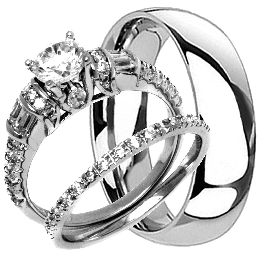 NYCJewelrydesign 3 Pieces Men's and Women's, His & Hers, 925 Genuine Solid Sterling Silver & Titanium Engagement Matching Wedding Anniversary Ring Set
