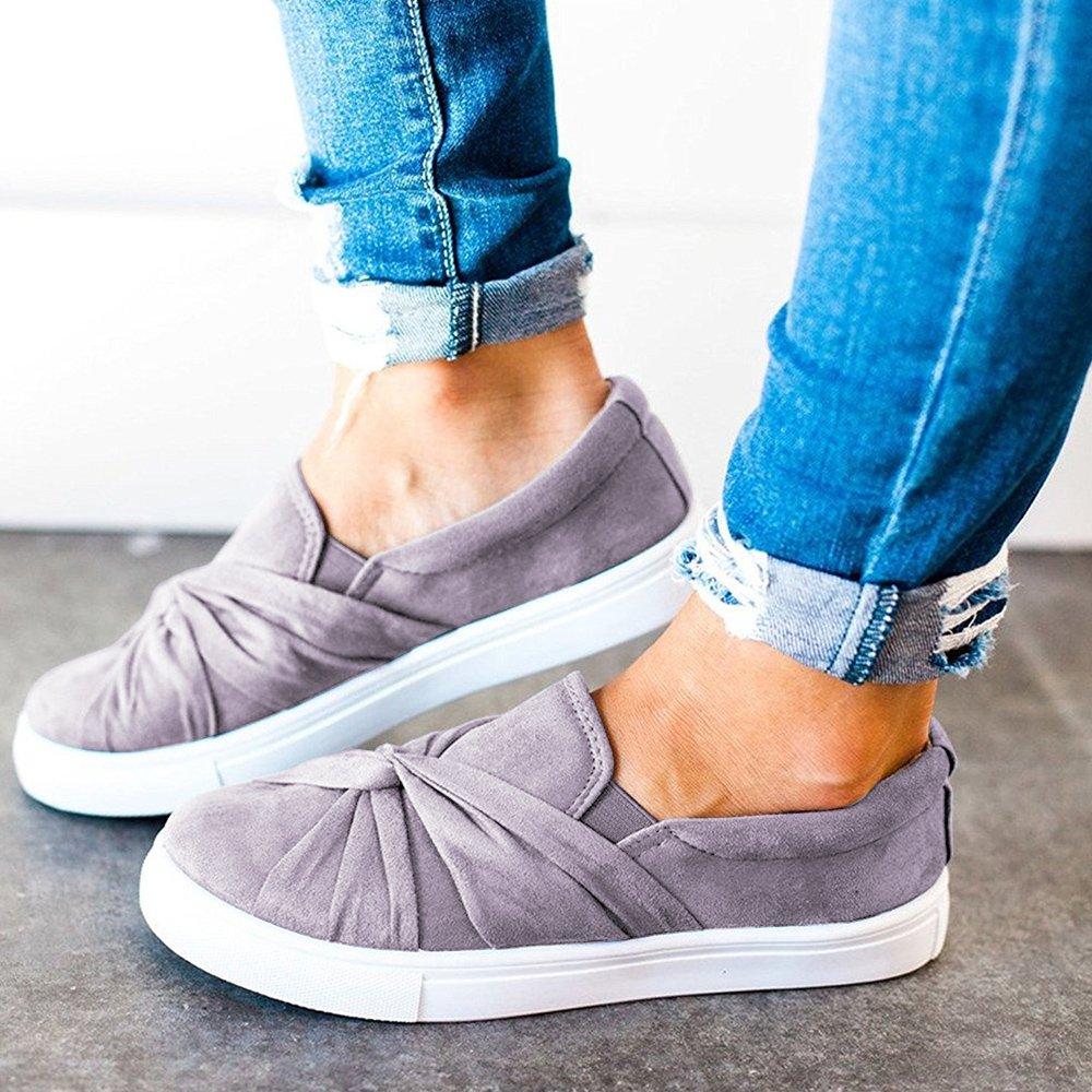 Blivener Women's Loafers Slip On Flatform Top Ruched Knot Fashion Sneaker 03Grey US8.5 by Blivener (Image #4)