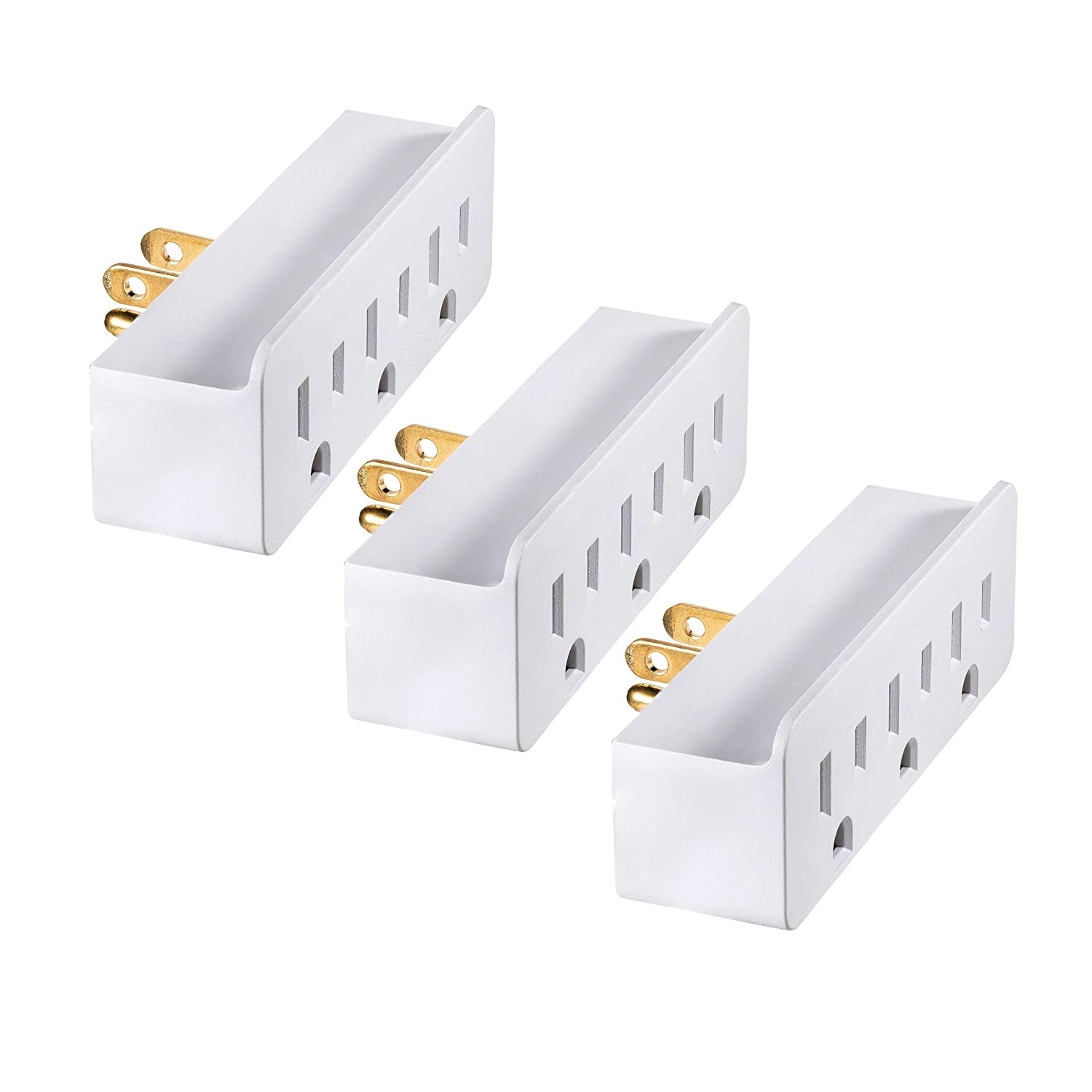 Maximm (3 Pack) 3 Outlet Grounded Wall Tap Adapter, Power Outlet Splitter, Turn One Outlet Into 3 Multi Outlet And ETL Listed