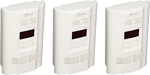 Kidde KN-COEG-3 Nighthawk Plug-in Carbon Monoxide and Explosive Gas Alarm with Battery Backup Pack of 3 , 3 pounds