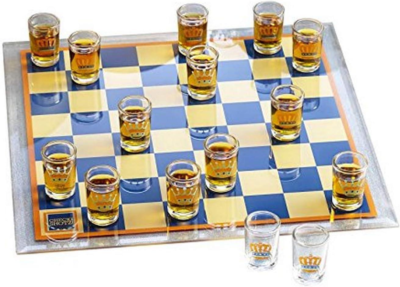 Game Night 326123-GB Checkers Shot - Juego de vasos de chupito (cristal), transparente: Amazon.es: Hogar