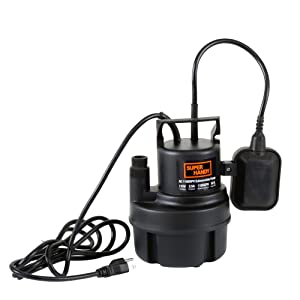 """SuperHandy Submersible Sump Water Pump 1/3 HP 1100 GPH 3/4"""" GHT or 1"""" Inch NPT 18' Feet Head Lift 115VAC Electric Heavy Duty Polypropylene Transfer from Ponds Tanks Pools Fountains Basements Cellars"""