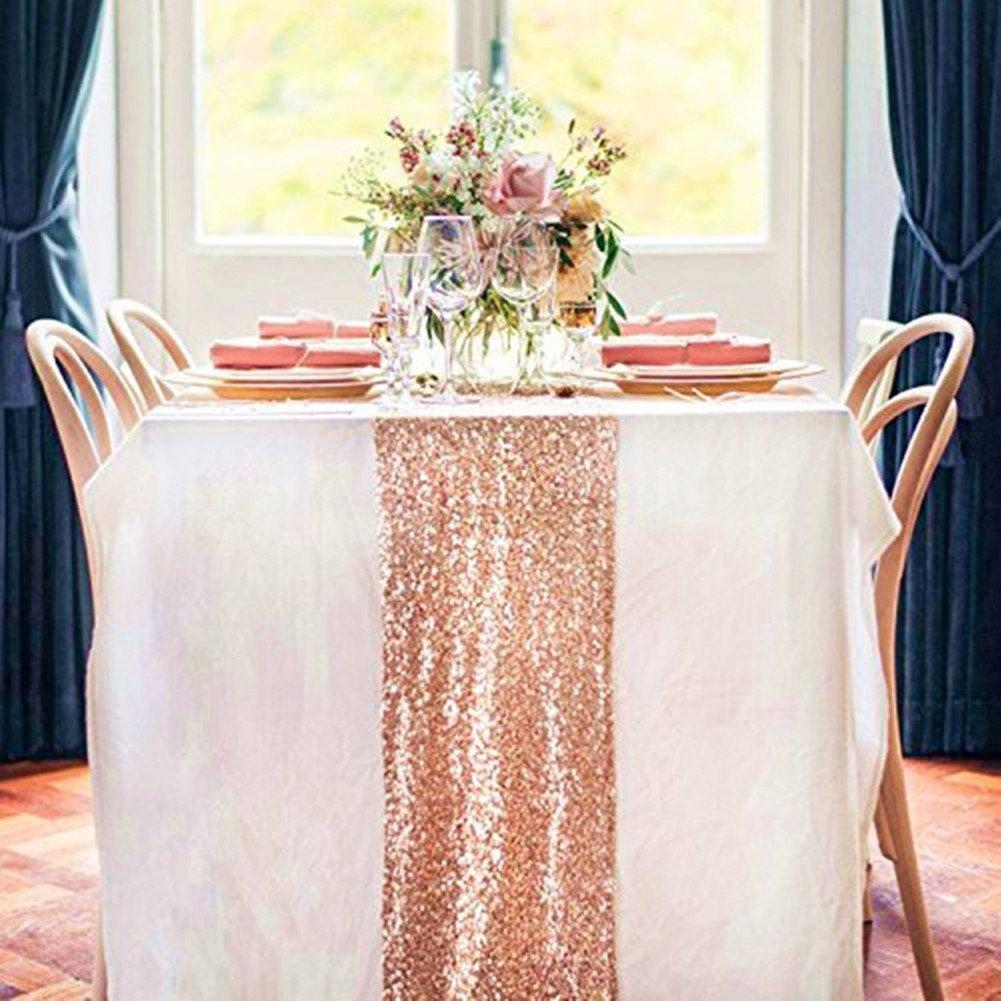 TRLYC 10PCS 12'' x 108'' Royal Sequin Table Runner, Rose Gold