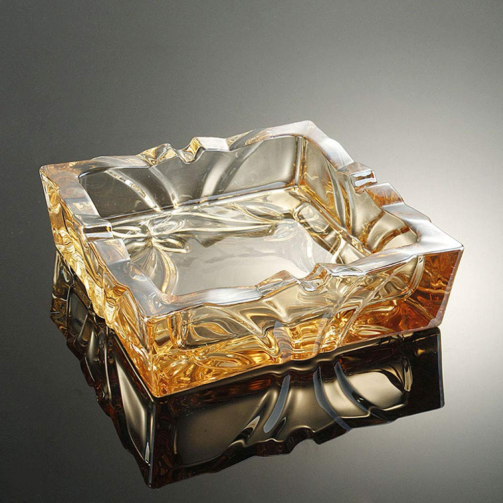 ZDD Crystal Glass Ashtray/Creative Personality Home Practical Ashtray/Decorative Ornaments Gifts/Four Colors Available (ø15cm H4.5cm) (Color : Gold) by ZDD (Image #1)