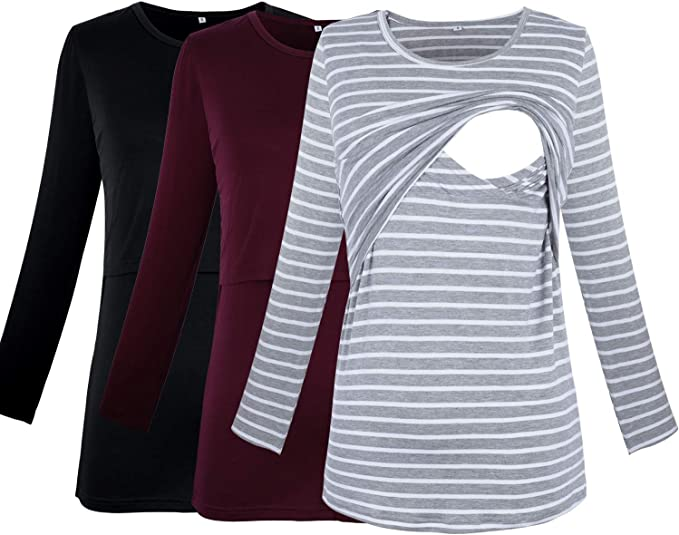Prettylife Women S Maternity Nursing Tops Long Sleeve Comfy Double Layered Breastfeeding Shirts 3 Pack At Amazon Women S Clothing Store