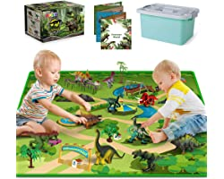 Dinosaur Toys with 10 Realistic Dinosaur Figures, Activity Play Mat & Trees for Creating a Dino World Incl T-rex, Triceratops