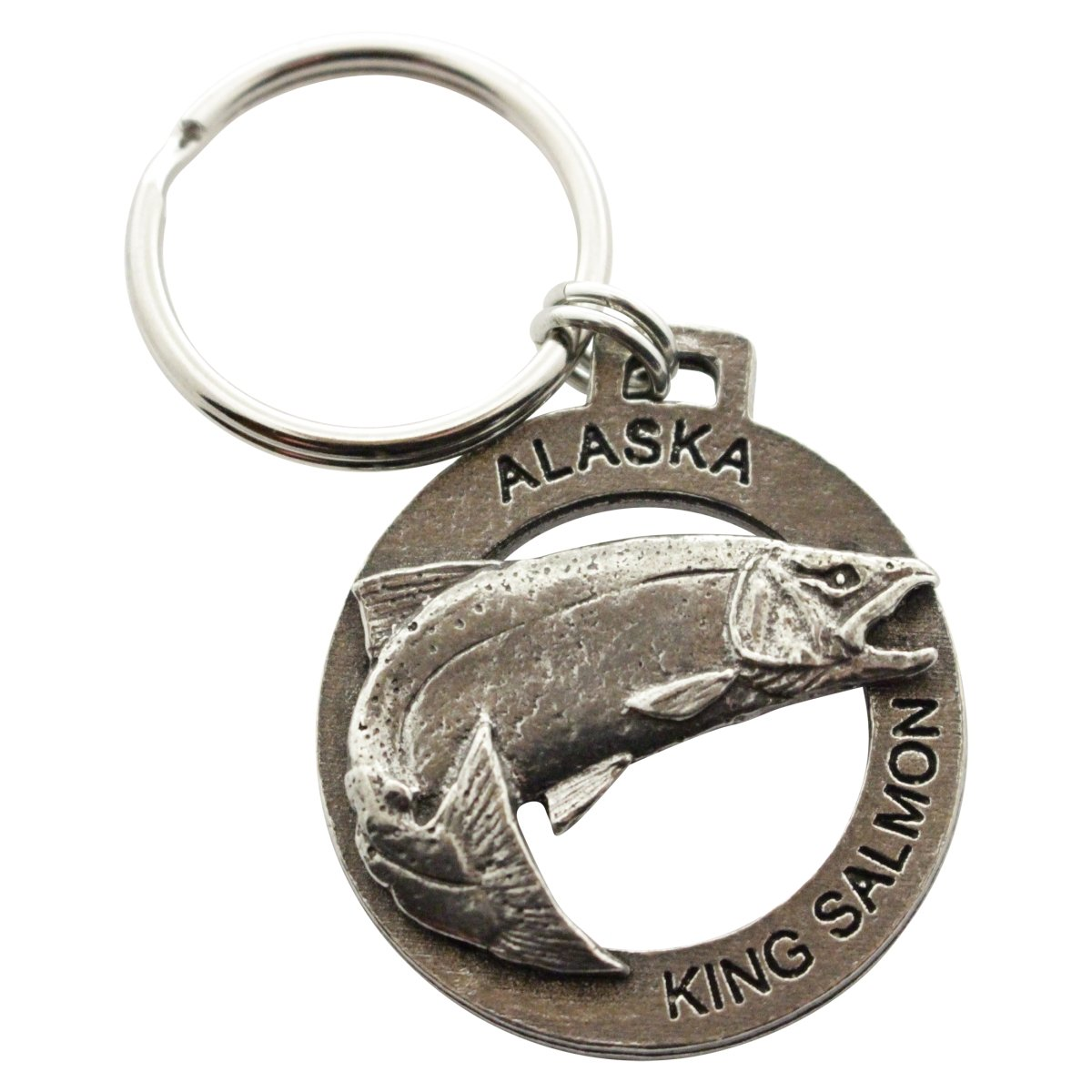 Creative Pewter Designs, Pewter Alaska King Salmon Jumping Key Chain, Antiqued Finish, A601KC