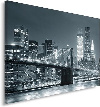 Feeby Frames, Tableau Seul Panneau, Tableau imprimé XXL, Tableau imprimé sur Toile, Tableau Deco, Canvas 70x100 cm, Pont, Ville, Nuit, New York,