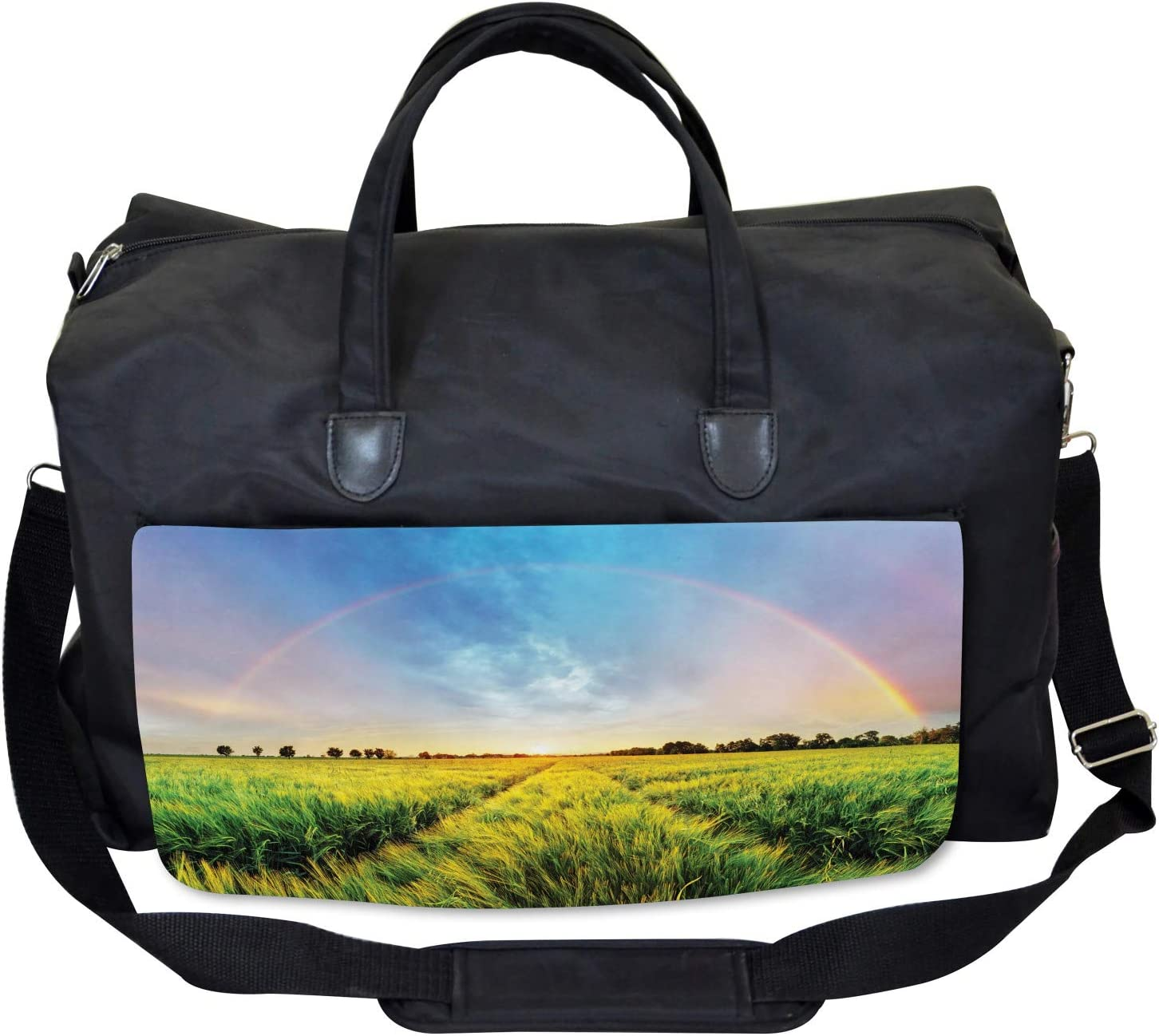 Wheat Field Nature Ambesonne Green Yellow Gym Bag Large Weekender Carry-on