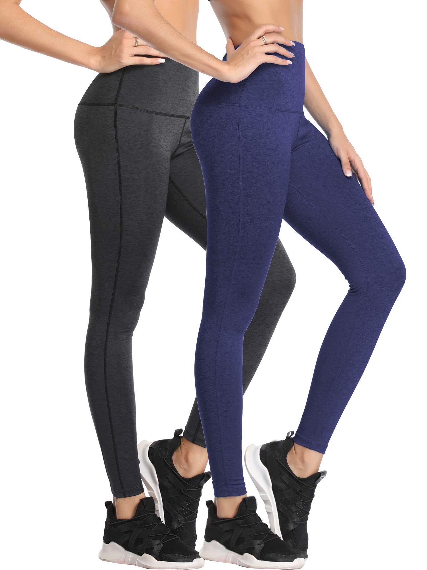Cadmus Tummy Control Workout Leggings for Yoga Womens,1101,Dark Grey & Navy Blue,Small