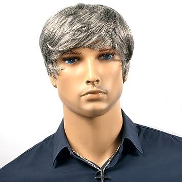 Amazon Com Men Wigs Silver Grey Short Curly Lace Wigs For Men Heat