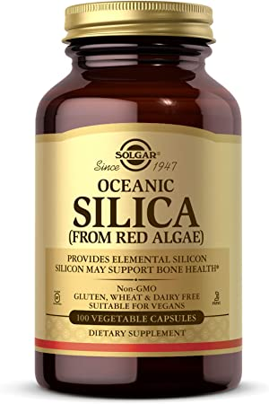 Solgar Oceanic Silica from Red Algae 25 mg, 100 Vegetable Capsules - Excellent Source of Calcium, Supports Bone Health - Non-GMO, Vegan, Gluten Free, Dairy Free, Kosher - 50 Servings