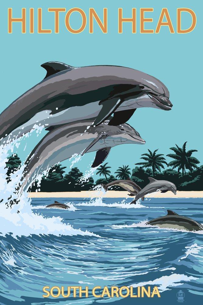 ヒルトンヘッド、South Carolina – Dolphins Jumping 36 x 54 Giclee Print LANT-46660-36x54 B017E9RQCY  36 x 54 Giclee Print