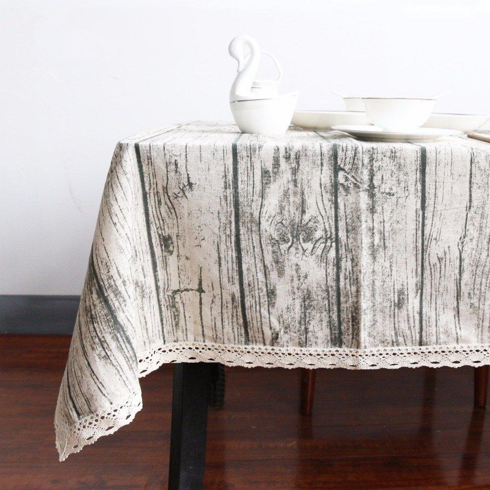 Andrui venatura del legno tovaglia simulazione Patterned vintage tovaglia rettangolare tovaglia di calore e umidità resistenza lavabile Table Protector, Grey, 60x60 cm (24x24 inch)