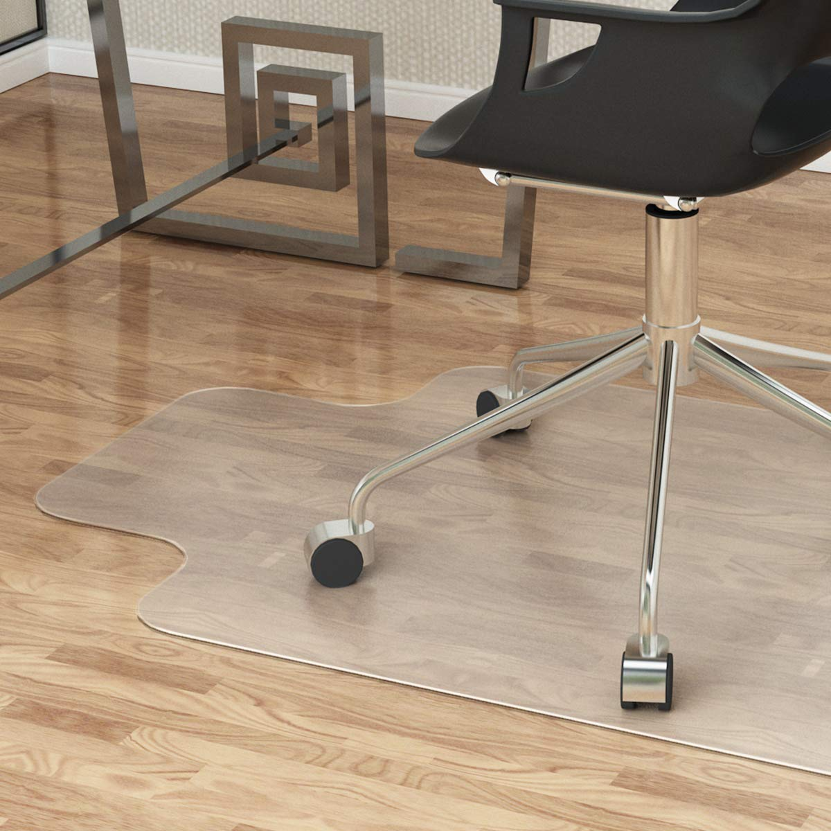 LANGRIA Large Office Desk Chair Mat with Lip for Hardwood Floors Eco-Friendly PVC Material BPA Free for Home and Office 36 x 48 Clear Hard Floor Protector with Non-Studded Bottom