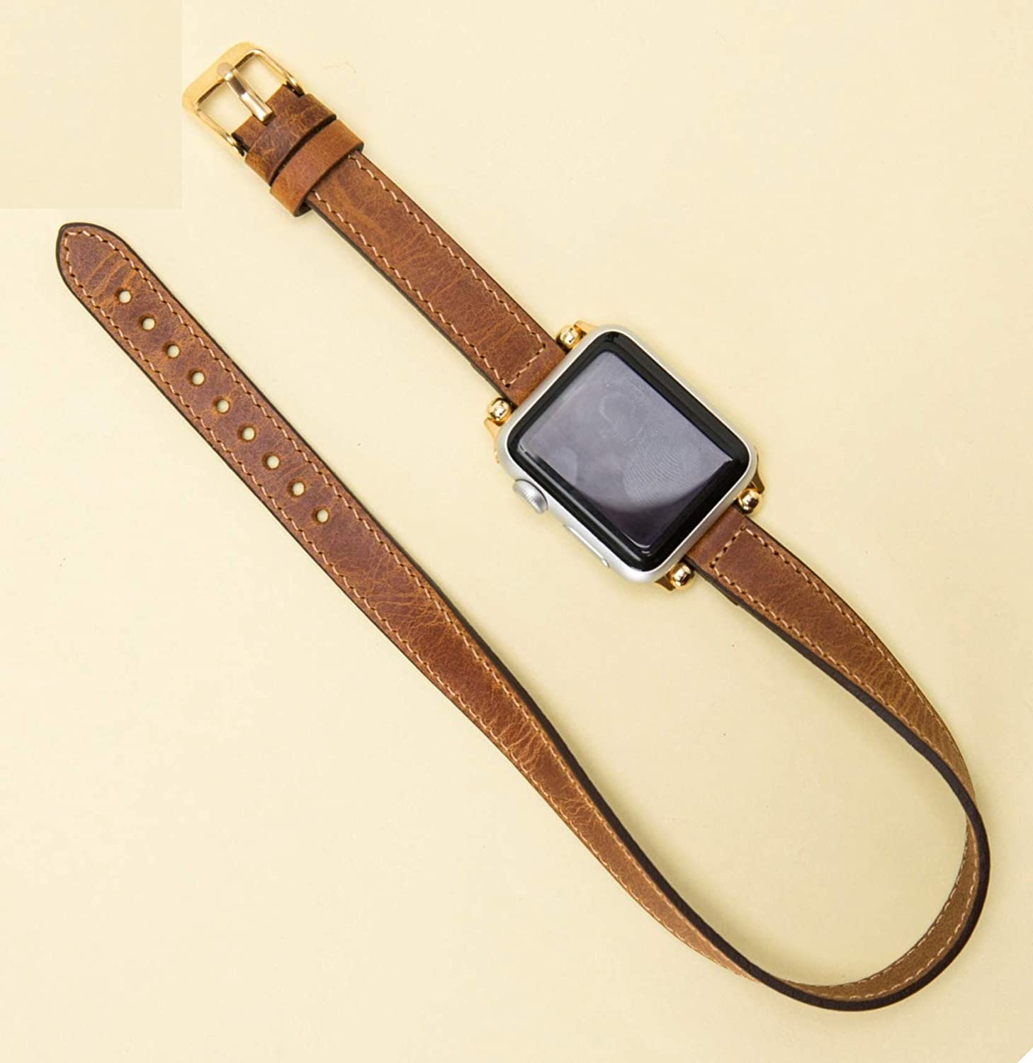 0ac60e689 Double Tour Apple Watch Leather Band for Women Thin iWatch Leather Band for  Women 38mm, 40mm, 42mm, 44mm Double Wrap Band Genuine Leather Apple Watch  Strap ...