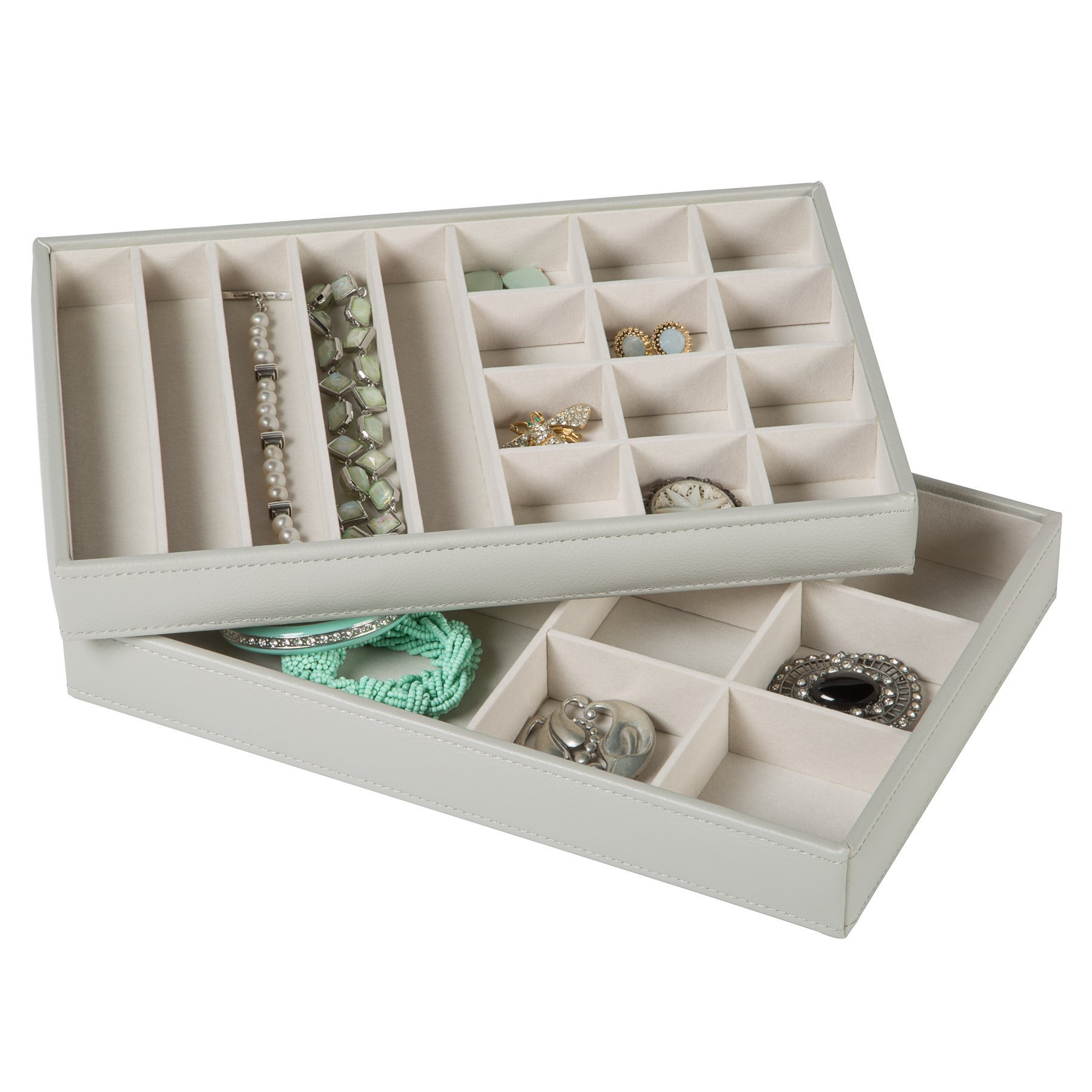 HomeCrate Stackable Jewelry Organizer Trays for Showcase Display, Set of 2 - Pebbled Gray