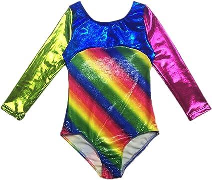 Happy Cherry Toddler Girls Gymnastic Leotards Long Sleeve One-Piece Bodysuit Dancing Outfit Biketard 3-10 Years
