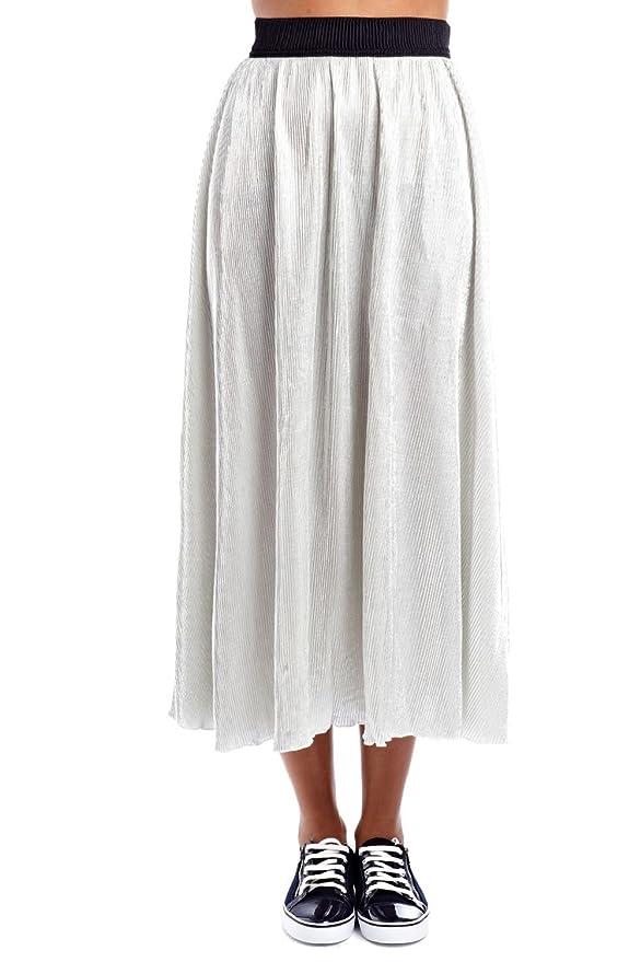 Q2 Mujer Falda larga metalizada plata - XS - Plata: Amazon.es ...