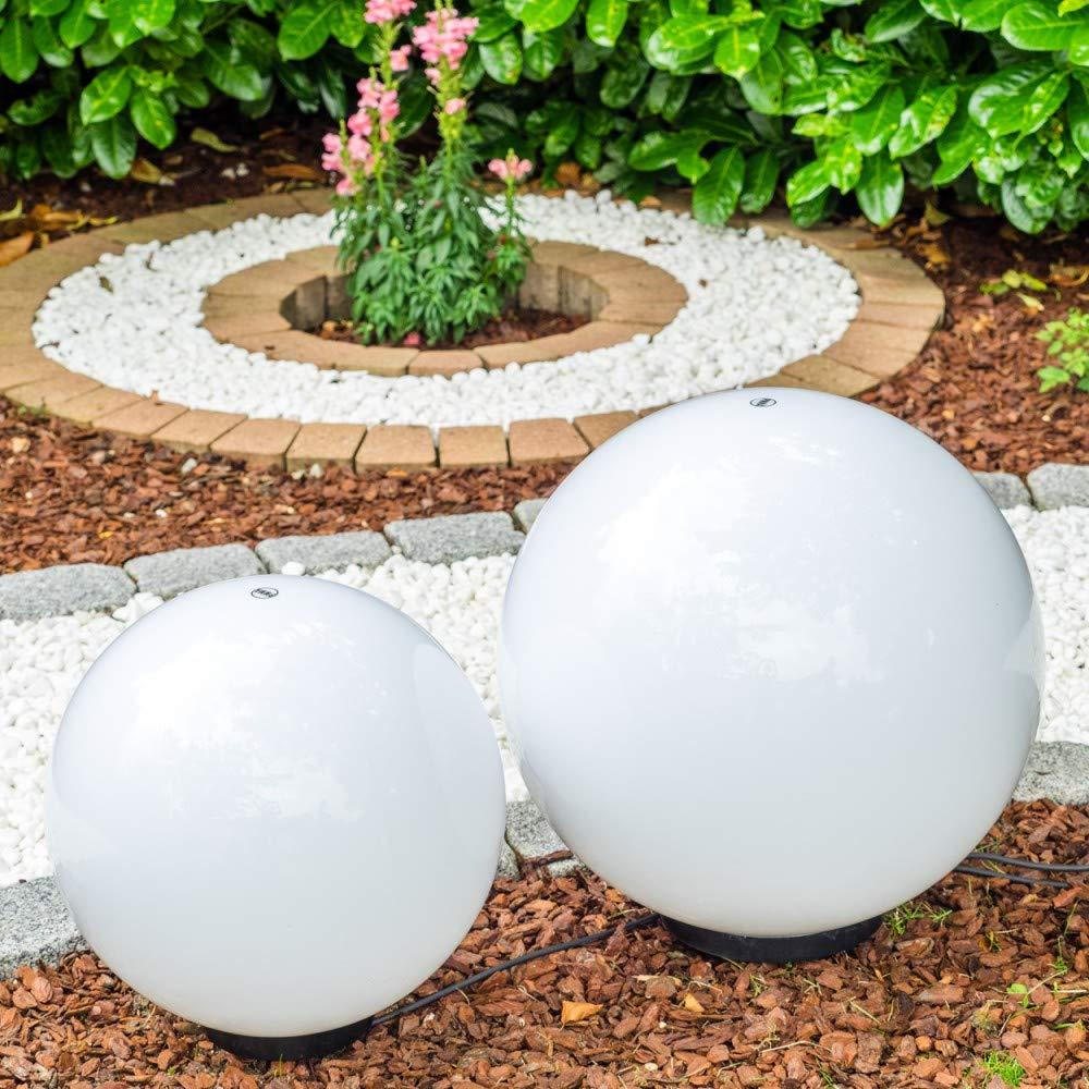 Wetterfest mit E27 Fassung Leuchtkugel Garten mit 30cm Durchmesser und 5 Meter Zuleitung Kugelleuchte Miau mit Erdspie/ß Garten Kugel LED in Wei/ß