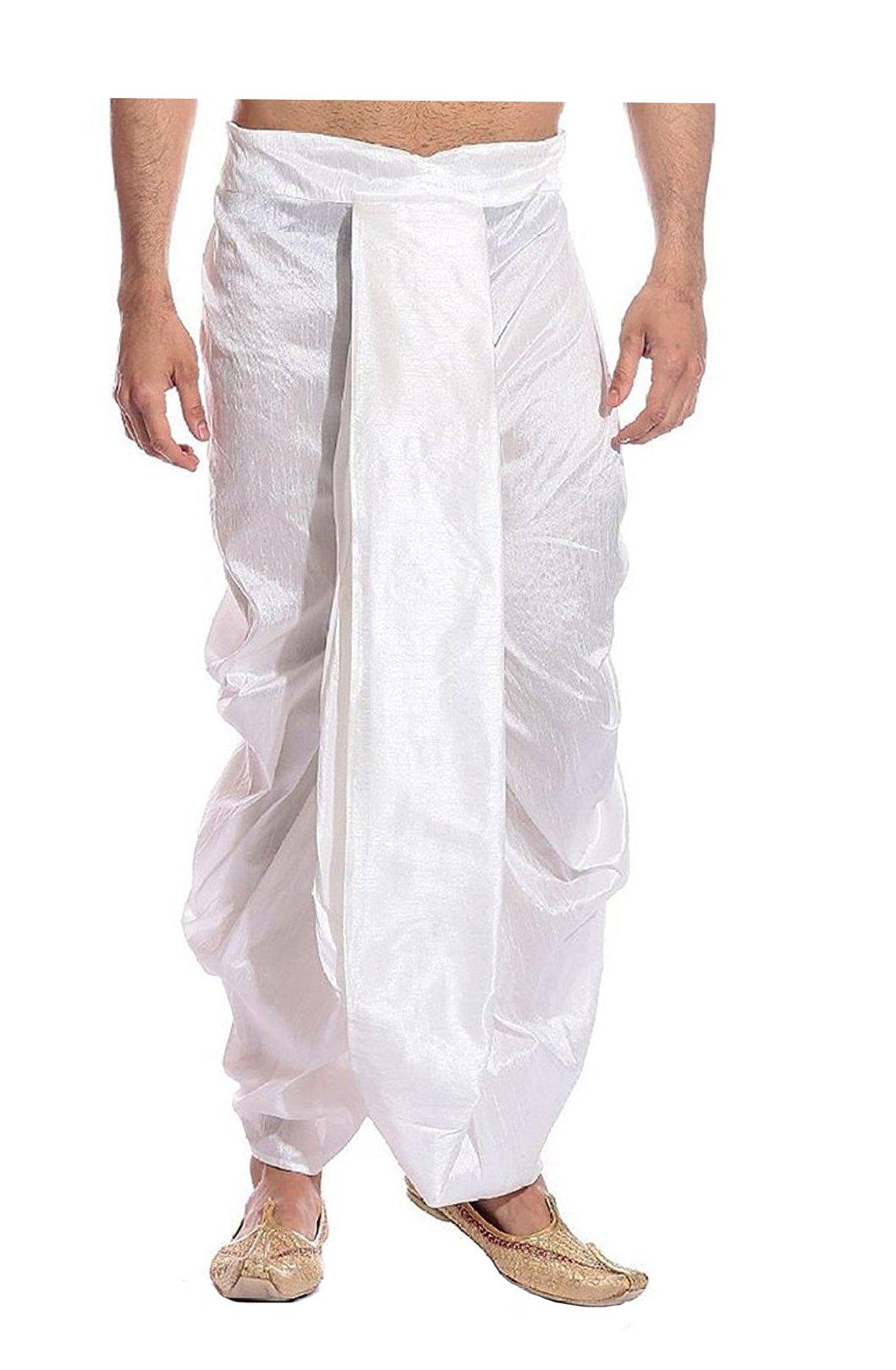 Royal Kurta Men's Art Silk Fine Quality Ready To Wear Dhoti pants Free Size White